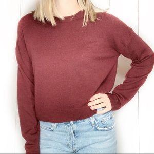 EVERLANE 100% Cashmere Cropped Crew Neck Sweater